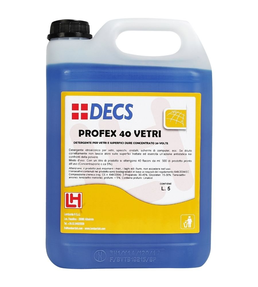 Profex 40 Vetri - Superkoncentrovano sredstvo za čišćenje i higijenu svih staklenih površina i nameštaja